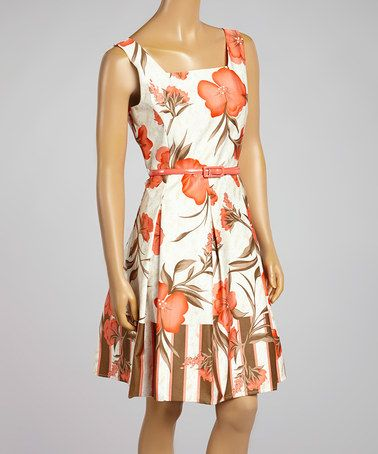 Another great find on #zulily! Coral & Beige Floral Belted Fit & Flare Dress #zulilyfinds