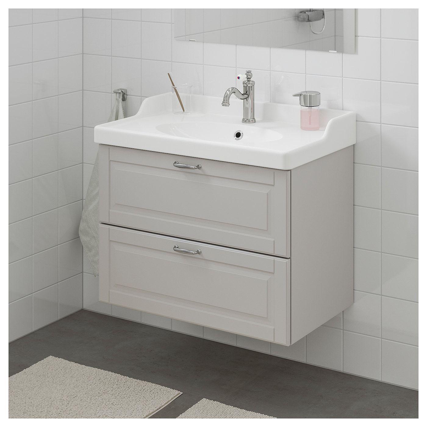 Ikea Godmorgon Rattviken Bathroom Vanity Kasjon Light Gray