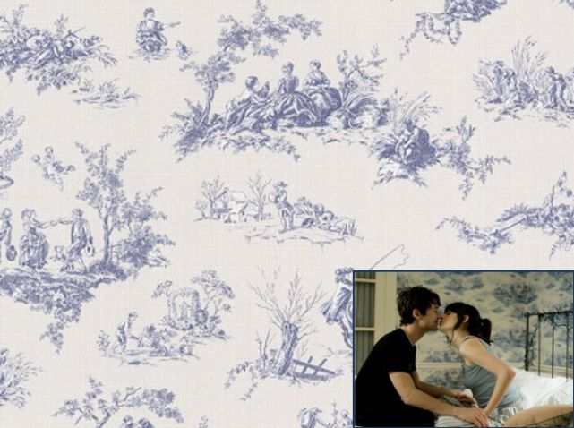 papier peint toile de jouy bleu castorama papiers peints wallpaper pinterest papier. Black Bedroom Furniture Sets. Home Design Ideas