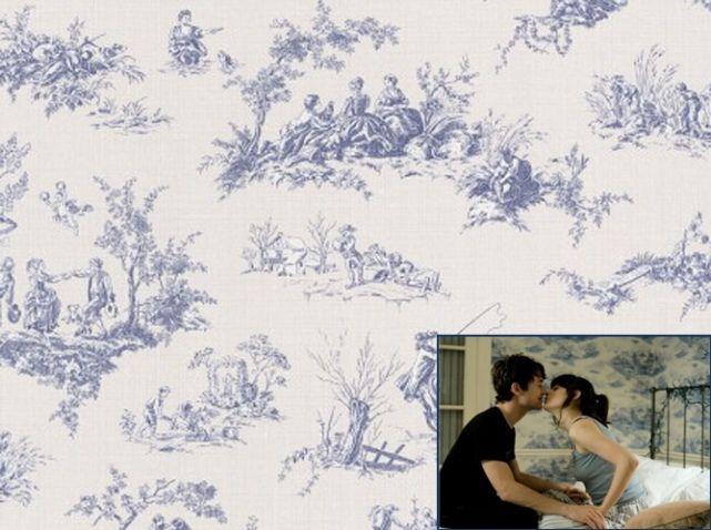 Papier peint toile de jouy bleu castorama | Papiers peints ...