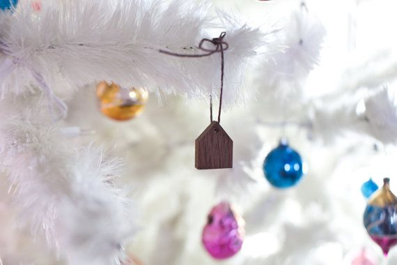 Handmade House Ornament  Holiday Decor Tiny Wooden by whiskyginger