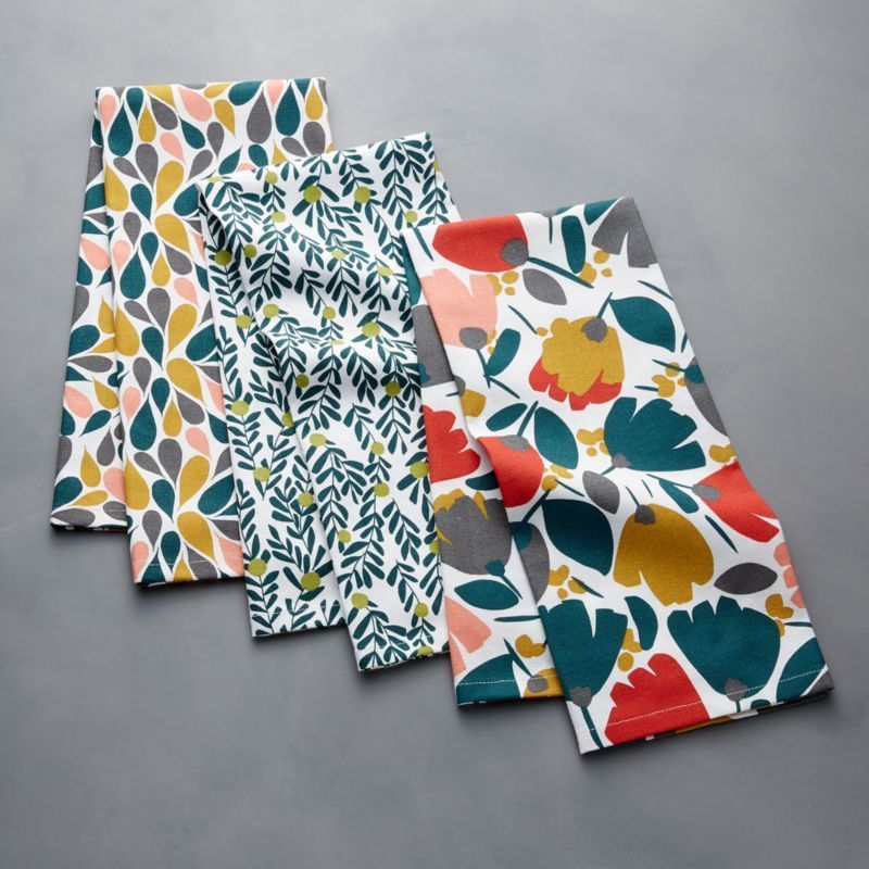Mod Multi Dish Towels, Set of 3 #dishtowels Shop Mod Multi Dish Towels, Set of 3.  Mod patterns and fresh hues enliven this trio of white dish towels.  Vibrant flower blossom on the Bloom towel, teardrop petals scatter Burst, and energetic branches and olives vine across Botanic. #dishtowels