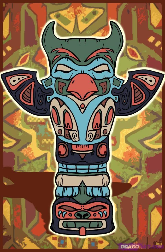 Célèbre How to Draw a Totem Pole, Step by Step, Tattoos, Pop Culture, FREE  VC09