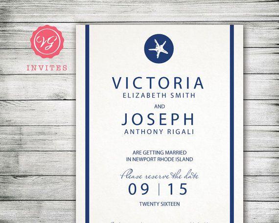 Navy Blue Starfish Wedding Announcement Best By Vginvites