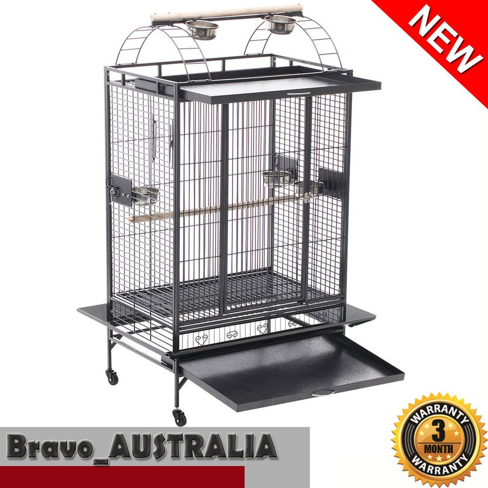 Bird Cage Parrot Aviary Pet Stand-alone Budgie Perch Castor Wheels ...