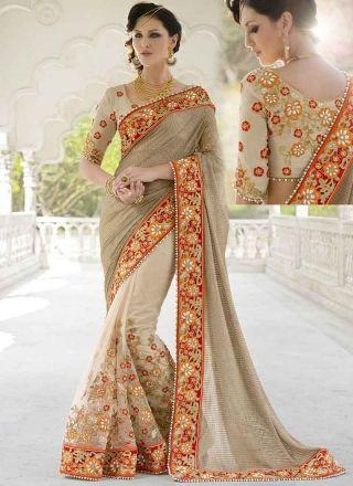 Dazzling Grey And Cream Half N Half Net Designer sarees #sarees #desingersarees #bridalsarees #weddingsarees #halfandhalfsarees #netsarees #worksarees #silksarees #georgettesarees  http://www.angelnx.com/Sarees/Bridal-Sarees