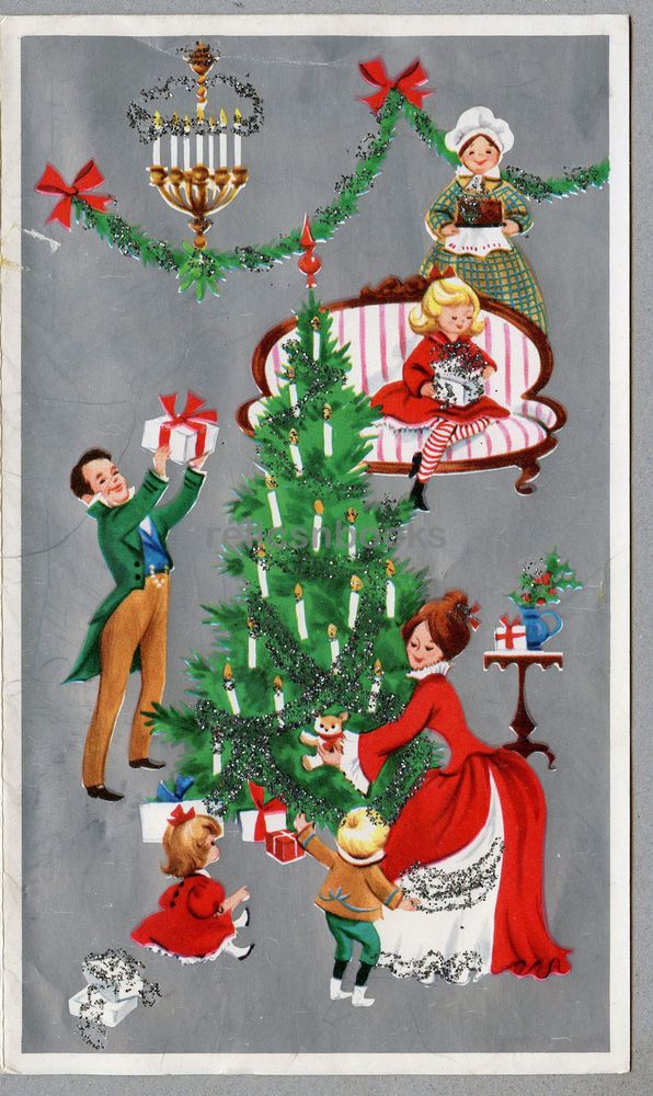 666 GLITTERED, An Old Fashioned Christmas! Vintage Christmas Card ...