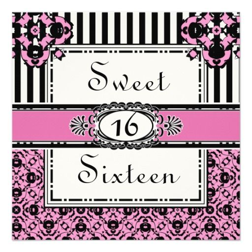 Sweet Sixteen Pink Girl's Birthday Invitations