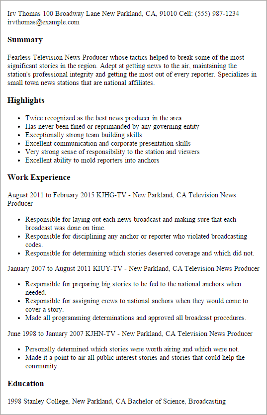 1 Television News Producer Resume Templates Try Them Now Myperfectresume