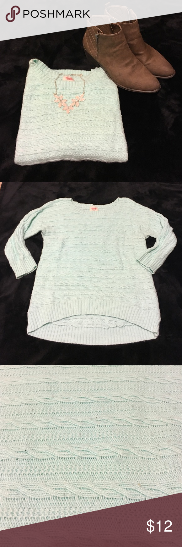 Light aqua crew neck sweater | Crew neck sweaters, High low and ...