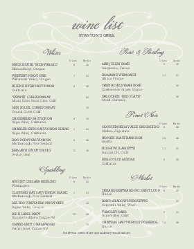 Sample Wine List  Agnieszka Borek    Template