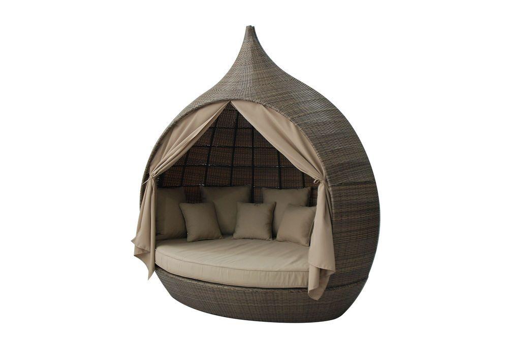 Leisuregrow Green Room Peach Rattan Weave Daybed Garden Furniture ...