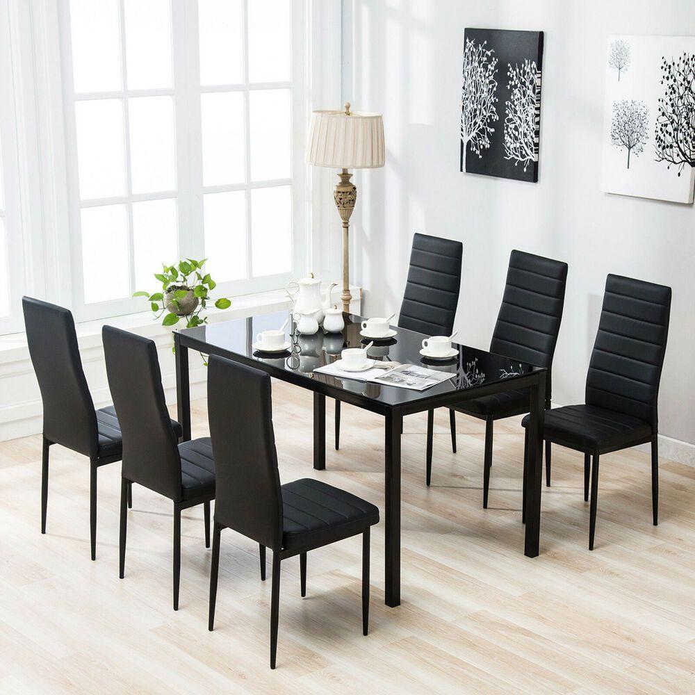 7 Piece Dining Table Set 6 Chairs Glass Metal Kitchen Room Furniture Black #Uenjoy #Modern ...