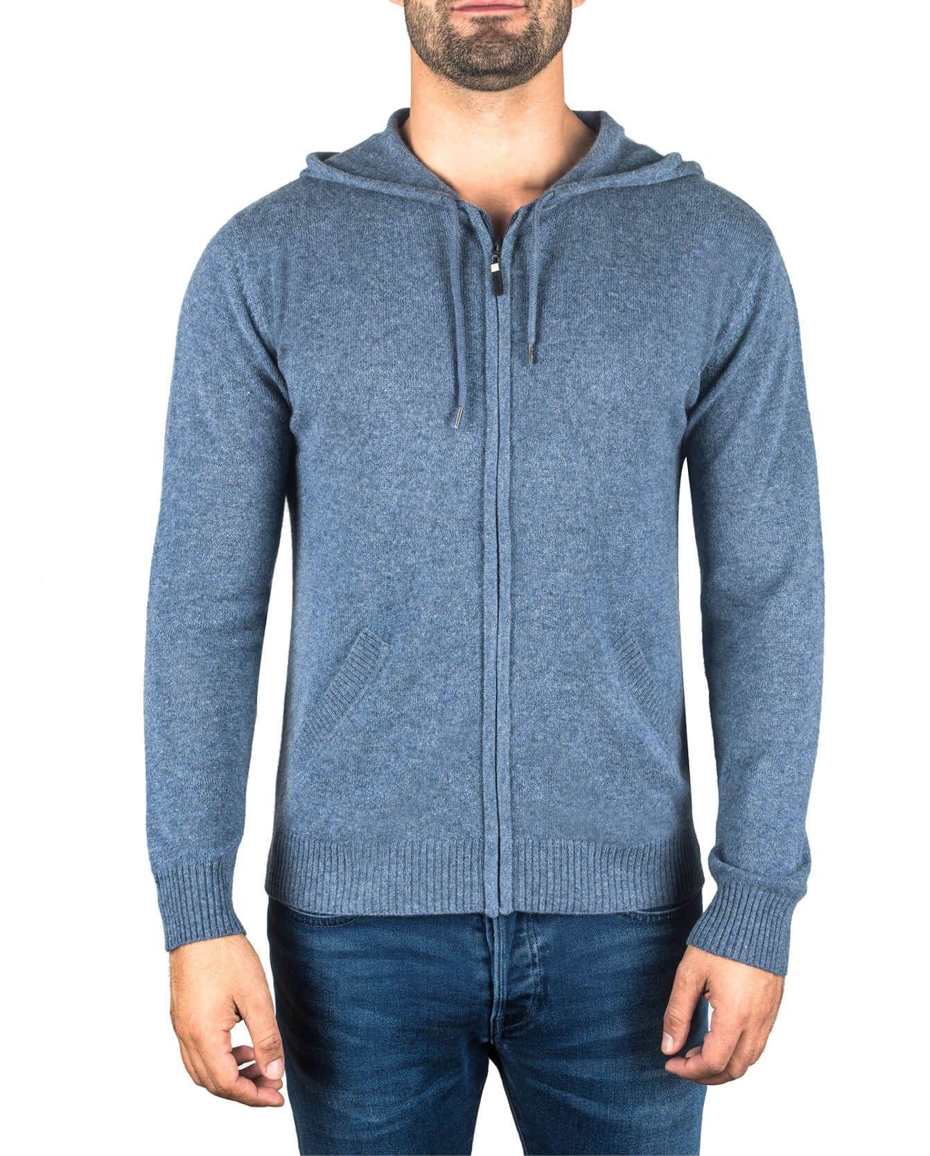 Herren Kaschmir Kapuzenpullover Hoodie jeans blau fornt