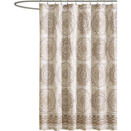 Lend A Bohemian Touch To Your Master Bath Or Powder Room With This Eye Catching Roomsshower Curtainsbungalowmaster