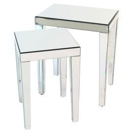 "The perfect addition to your living room or den, this pine wood nesting table set showcases a glamorous mirrored glass finish.     Product: Small and large nesting table    Construction Material: Pine wood and mirrored glass    Color: Mirrored   Features:    Streamlined silhouette   Frameless   Dimensions: 24"" H x 20"" W x 14"" D (overall)"
