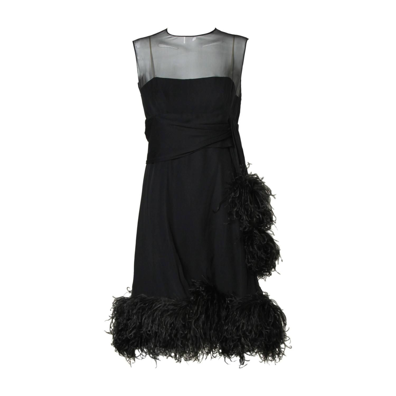 adb43b9ff9a Pat Sandler Vintage 1960s Black Silk Chiffon Dress with Ostrich Feather  Trim #patsandler #silkdress #featherdress #lbd #thriftedandmodern #1stdibs  #fashion
