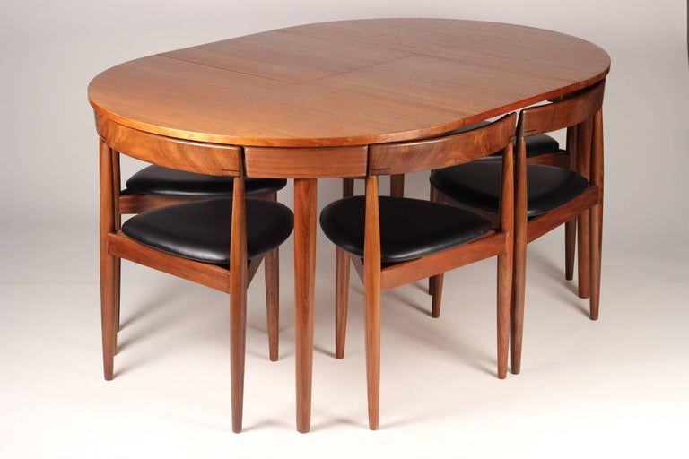 Scandinavian Modern Dining Table And Six Chairs Model Roundette By Frem Rojle In 2020 Dining Table Design Modern Wooden Dining Table Designs Modern Dining Table