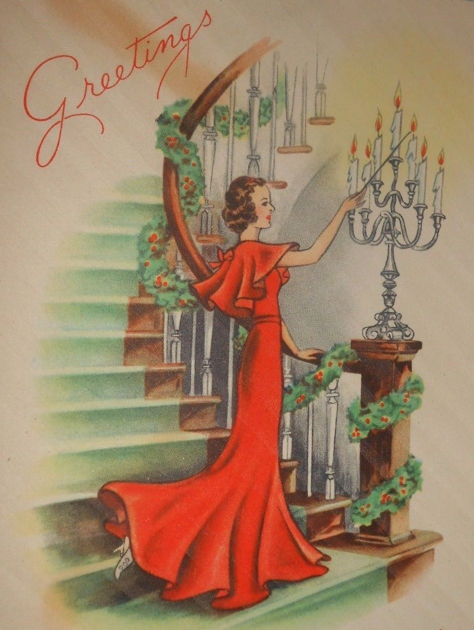 Lighting The Way! This has to be inside a Hollywood mansion. Where else would women dress like that and have a grand staircase like that in the 1930's?