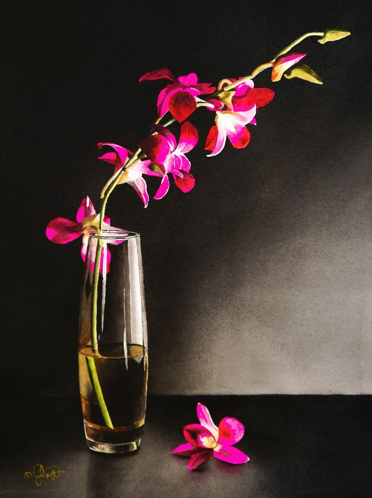Still Life With Orchids Original Fine Art Flower Art Painting
