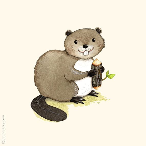 Beaver painting, Beaver illustration, Alphabet animals, Nursery room decor, B is for Beaver, Watercolor painting, Nursery wall art