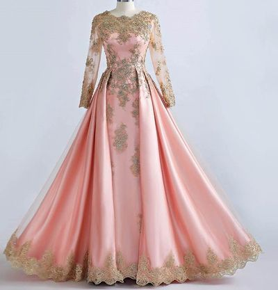 1862d94614500a A-line Prom Dresses, Scoop Long Sleeve Pink Applique Long Prom Dress,  Evening