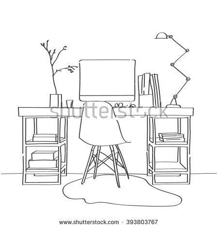 Modern Furniture Sketches hand drawn sketch of modern workspace with work table, designer