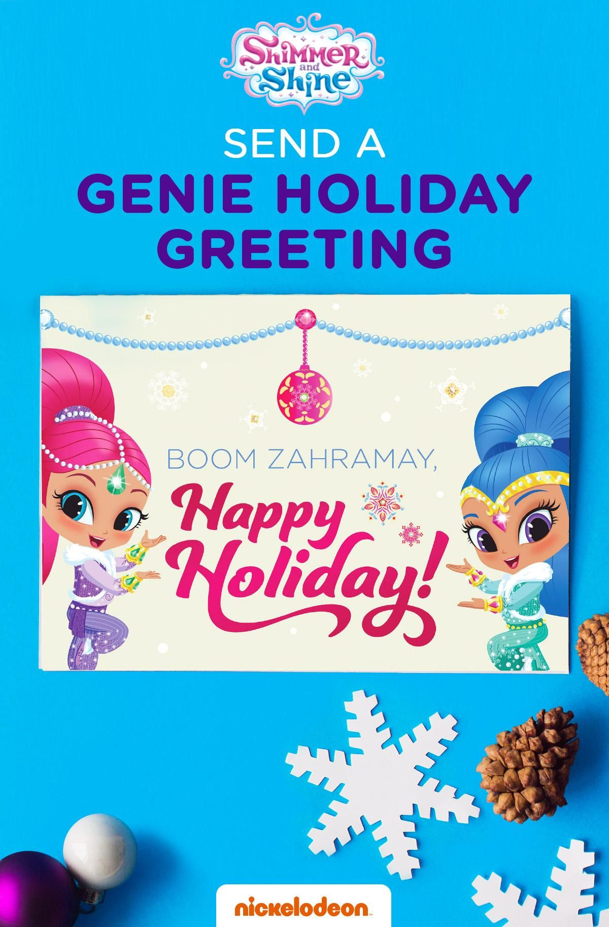 Shimmer Shine Holiday Card Holiday Greeting Cards Children S