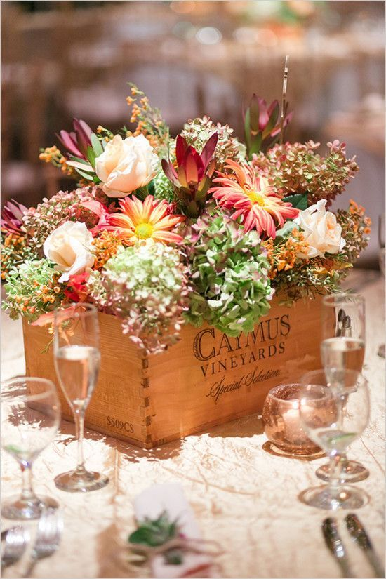 Fresh white and classic wedding flower box centerpiece classic rustic fall inspired flower box centerpiece junglespirit Image collections