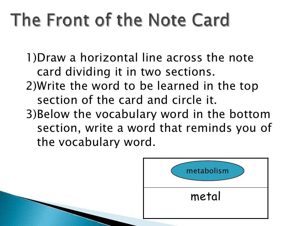 Lincs Vocabulary Strategy On Note Cards