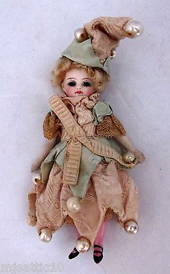 "4"" Antique French Mignonette All Bisque Jester Girl"
