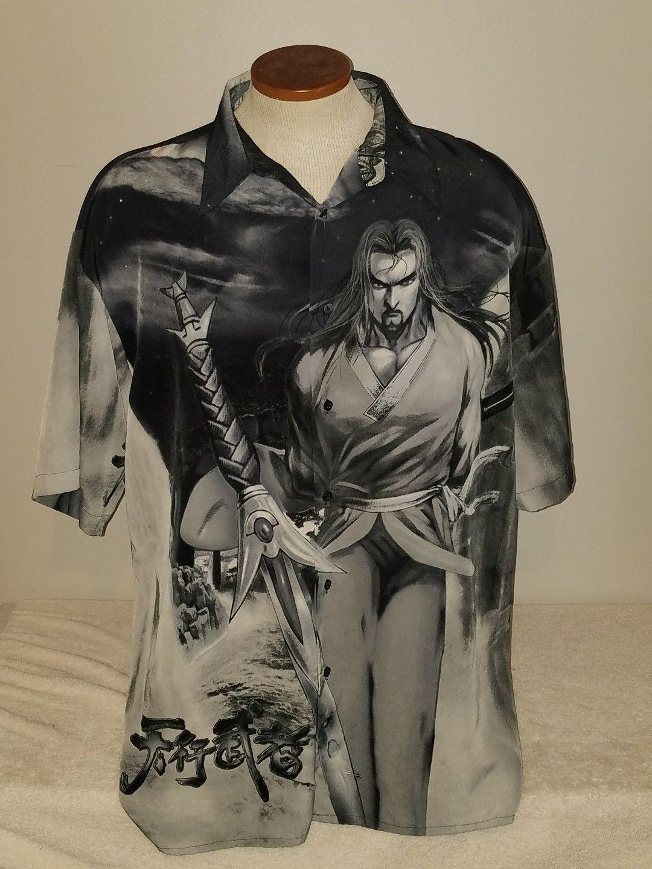 Billion bay mens hawaiian shirt ninja button front vintage