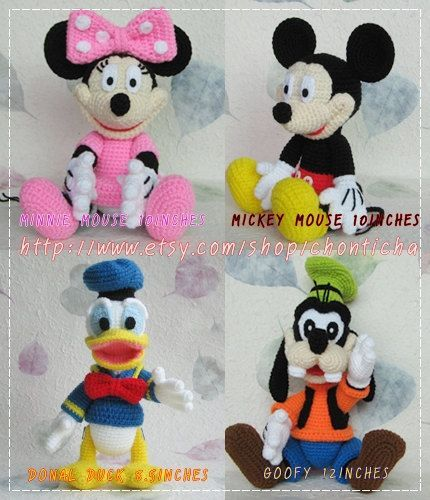 Mickey Mouse and the Gang - PDF amigurumi crochet pattern | Puppen