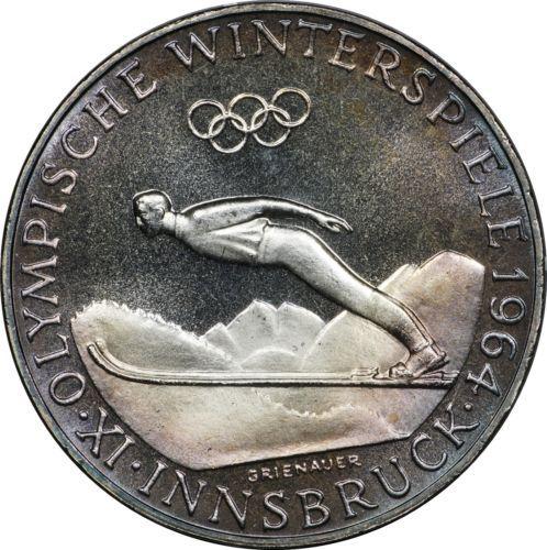 1964 Austria Proof 50 Schilling Innsbruck Winter Olympics