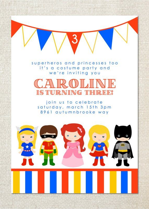 Superhero And Princess Dress Up Birthday Party Invitations In 2019