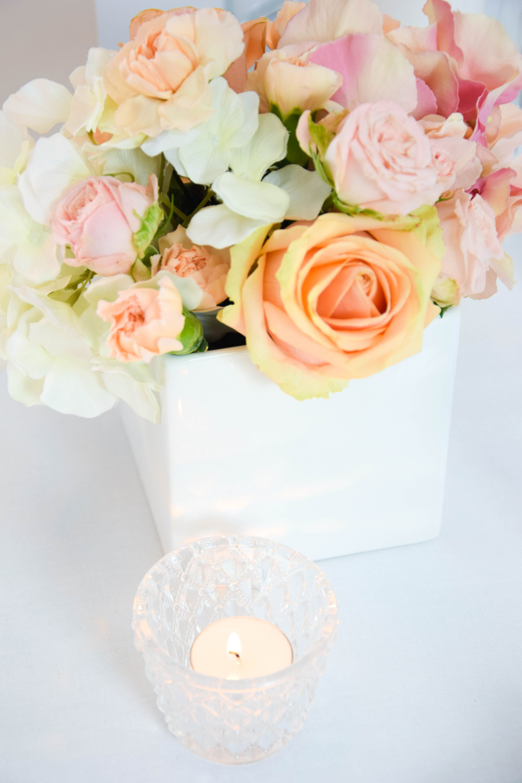 apricot i rosa i hochzeit i dekoration i wei i glas i kerzen i teelicht i vase i nelken i rosen. Black Bedroom Furniture Sets. Home Design Ideas