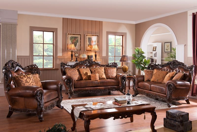 appealing traditional leather living room set | ~ Carnegie Leather Formal Living Room Set ~ vonfurniture ...