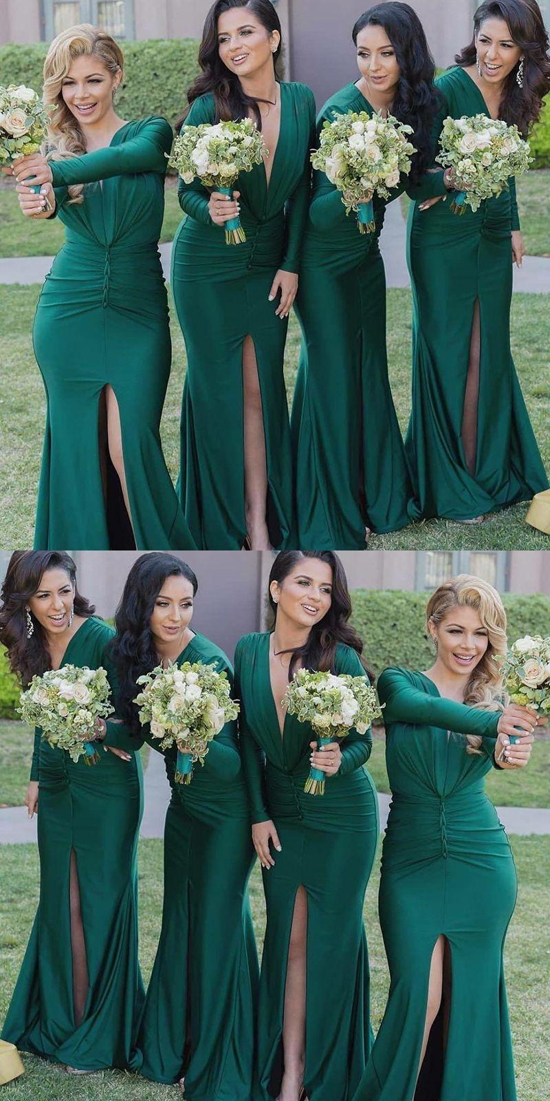 Mermaid V Neck Long Sleeves Long Hunter Bridesmaid Dress Simple Green Mermaid Bridesmaid Dresses With Mermaid Bridesmaid Dresses Bridesmaid Bridesmaid Dresses [ 1600 x 800 Pixel ]