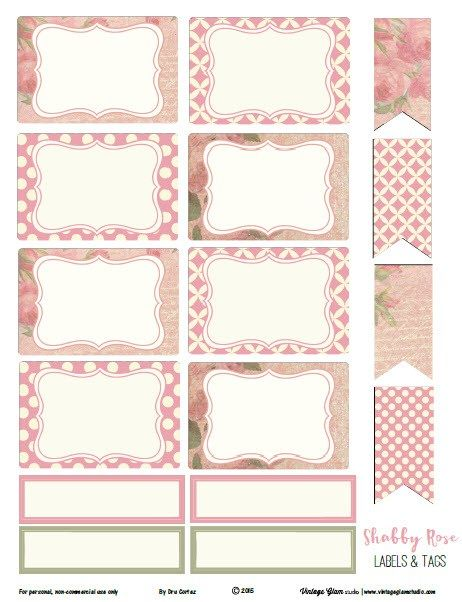 Shabby Rose Labels and Tags - Free Printable Download Organized