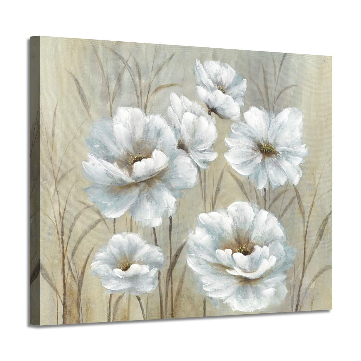 White Floral Prints Wall Art Yellowish Peony Artwork Flowers Canvas Picture Painting For Bedroom Floral Wall Art Prints Peonies Artwork Yellow Canvas Art