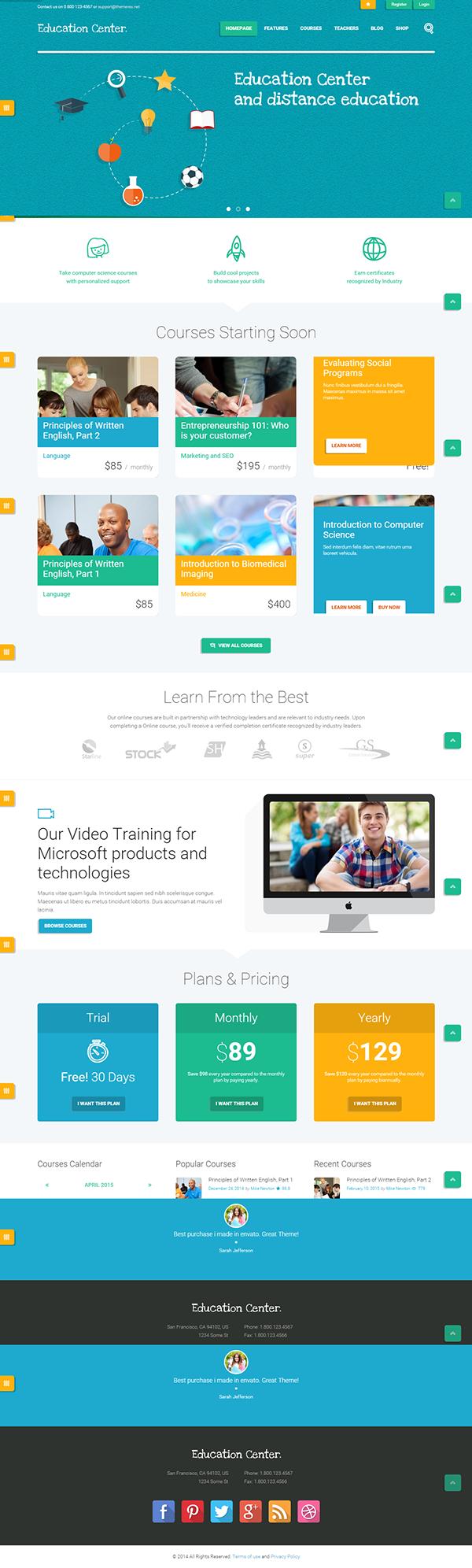 Education Center | Training Courses Wordpress Theme on Behance
