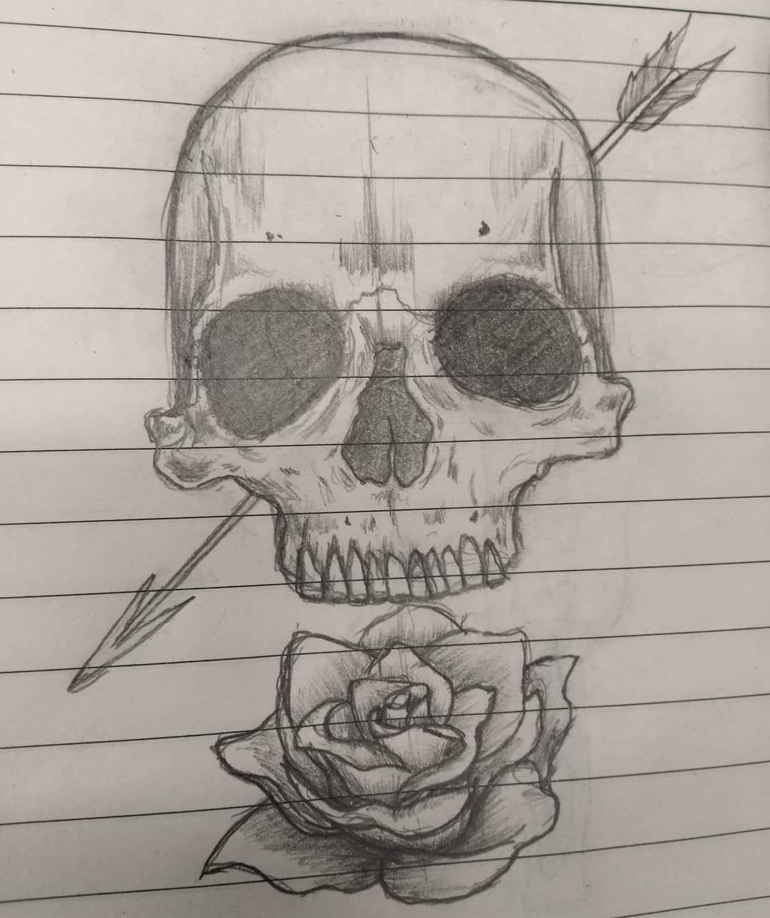 Sketch Skull Craneo Calavera Flecha Arrows Flor Flower Rose Boceto Dibujo Lapiz Pencil Work Trabajo Skull Sketch Cobra Art Drawings