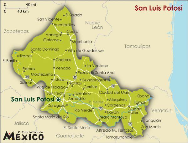 San Luis Potosi Map Map of San Luis Potosi ~ Rio Verde is near the bottom along route  San Luis Potosi Map