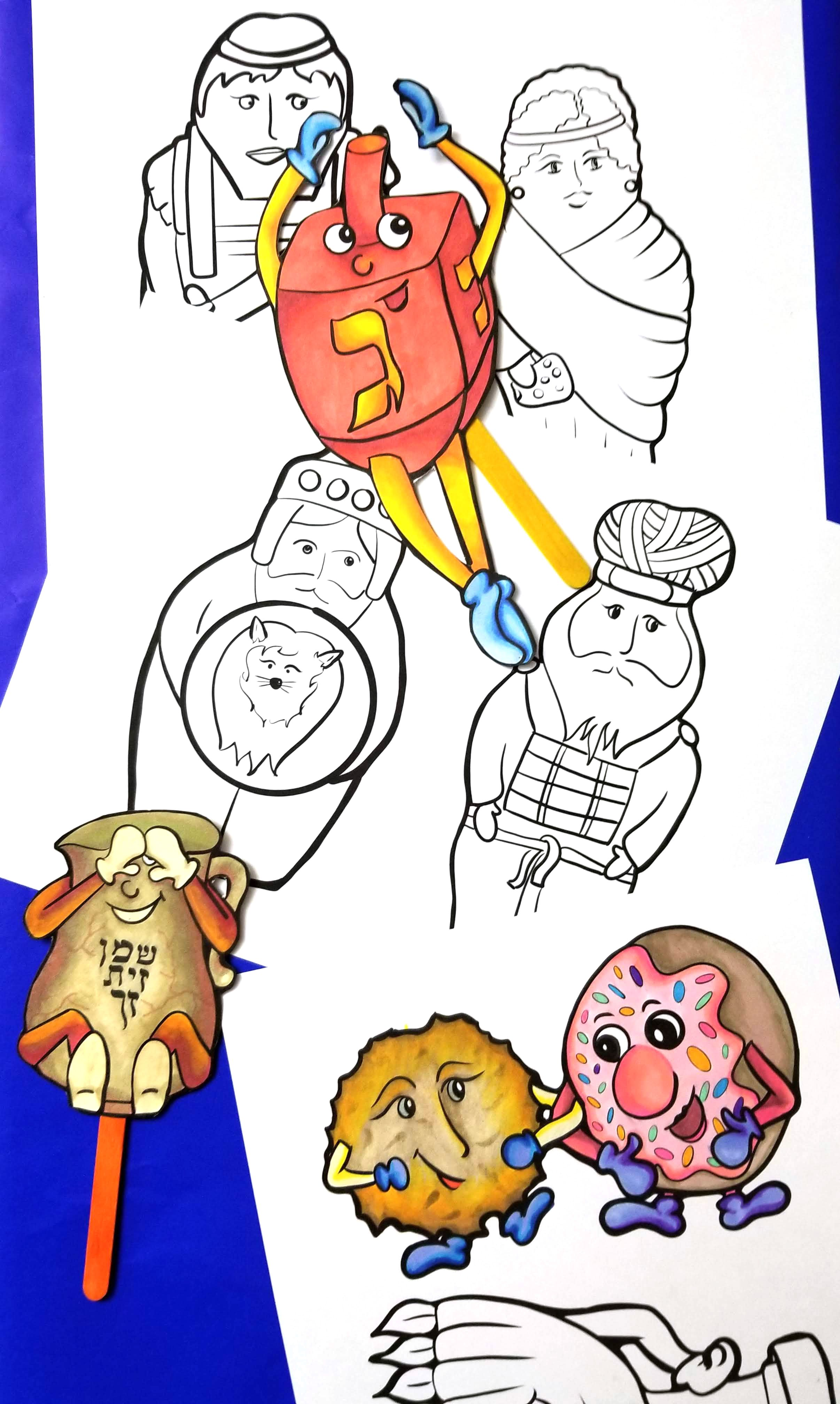 Hanukkah Puppets Printable Pdf Color In Coloring Pages Etsy Hanukkah Arts And Crafts For Kids Puppets [ 4032 x 2412 Pixel ]