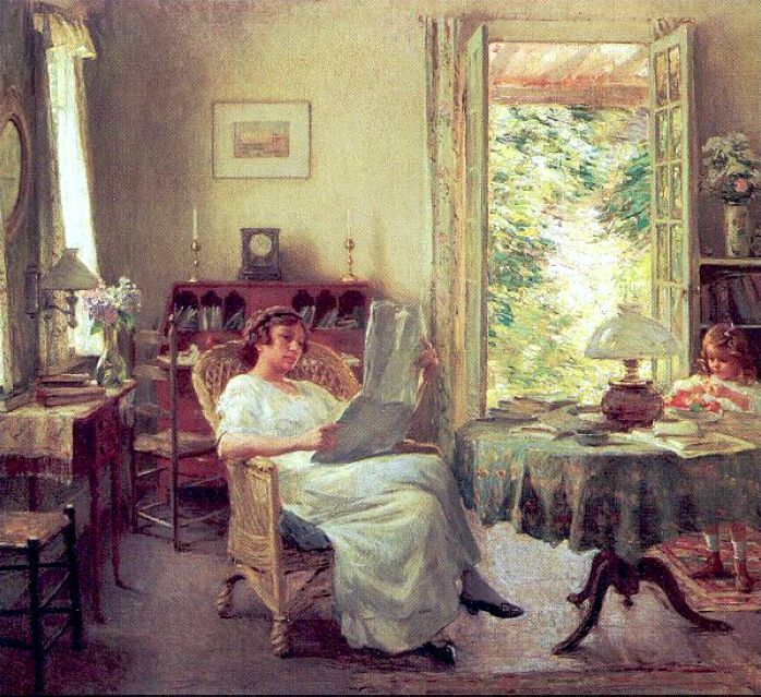 Summer at Hadlyme (1914). Willard Metcalf (American, 1858-1925). Oil on canvas. Florence Griswold Museum. Here Metcalf paints the interior employing a traditional approach. Figures and objects are tightly rendered and the paint is smooth and flat. Through the open door, however, Metcalf employs a thicker handling of paint to convey the multitude of color, form, and wild textures found in the garden.
