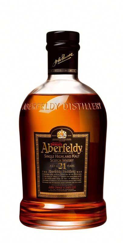 Aberfeldy 21-year-old single malt scotch whisky: kevyehkö, tasapainoinen, maukas ja erittäin pehmeä laatuviski. Vaniljaa, toffeeta, tammea, appelsiiniä ja mausteita.