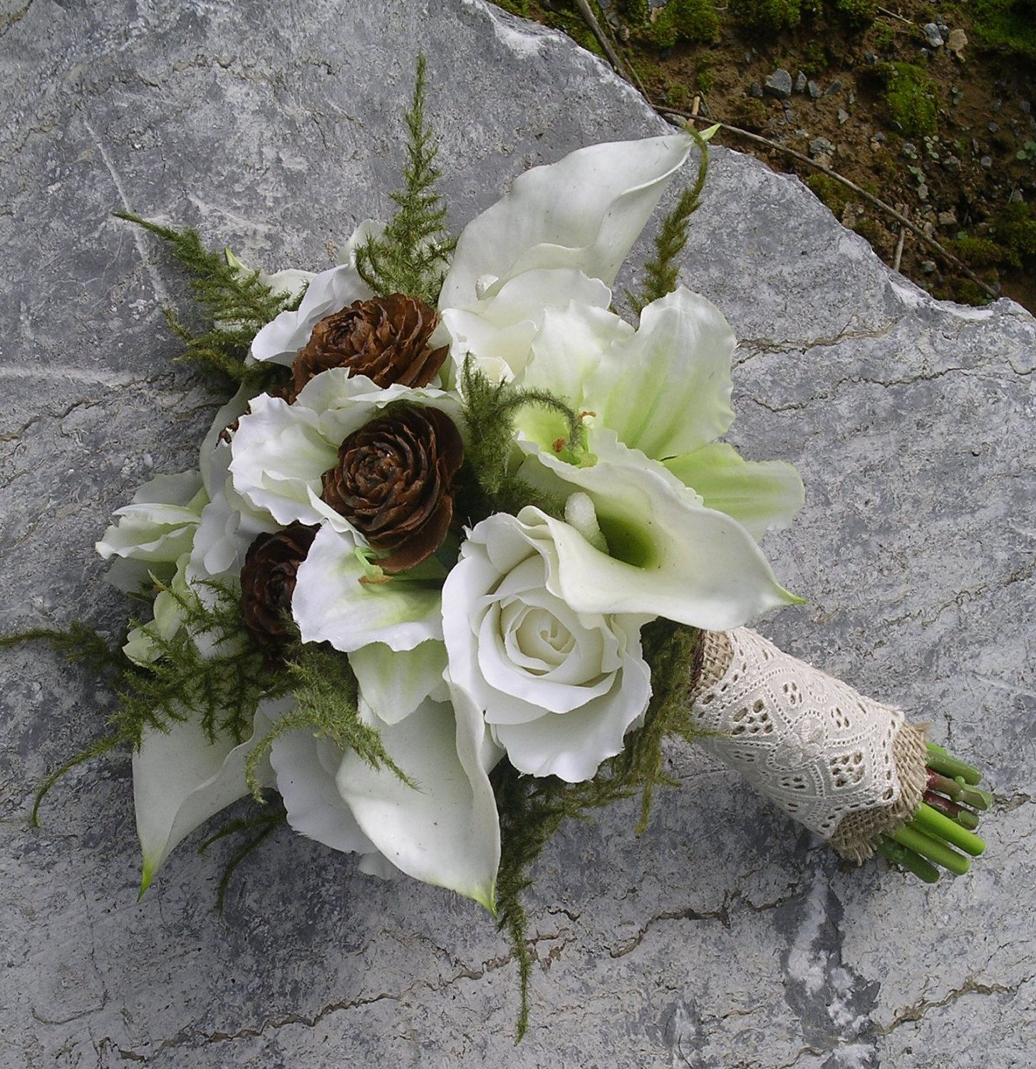 Woodland Real Touch Silk Calla Lily Rose Hand Tied Wedding Bouquet