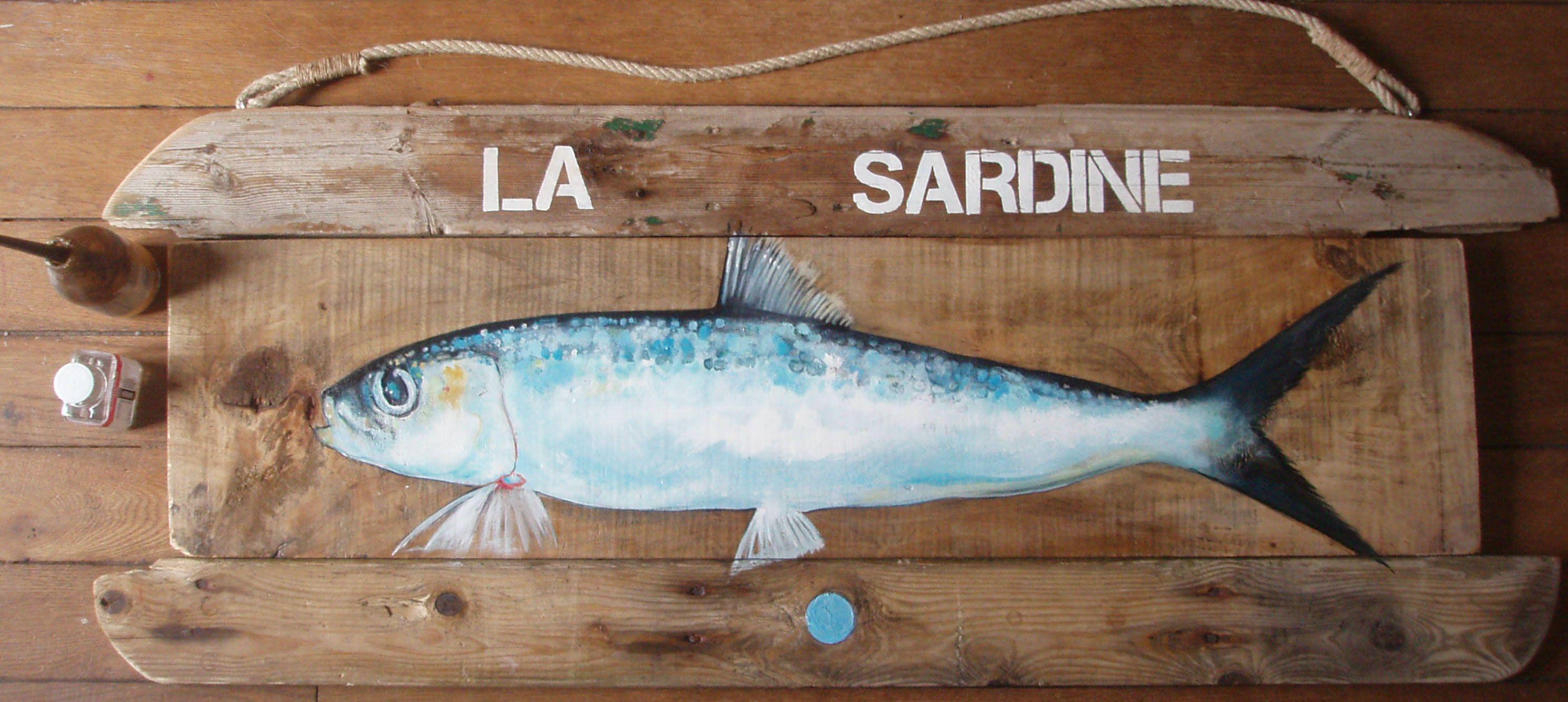 Sardine . Peinture sur bois flotté . | Porcelaine - poissons ...