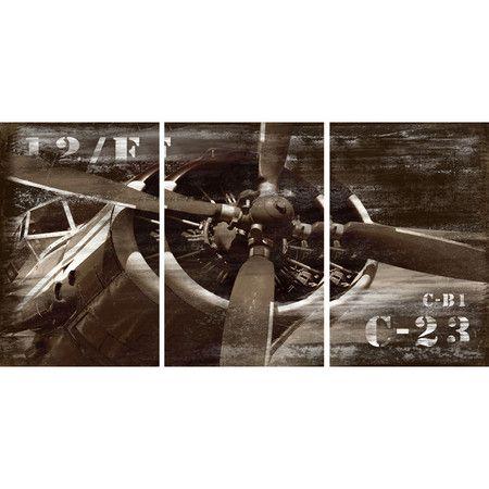 3 Piece Vintage Airplane Canvas Wall Art Airplane Wall Art Wall Canvas Canvas Wall Art