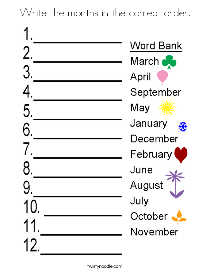 Write The Months In The Correct Order Coloring Page Twisty Noodle In 2020 Months In A Year Writing Phonics Worksheets